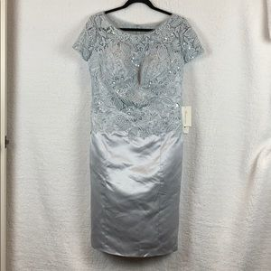 Silver Scoop-necked lace sequined Dress